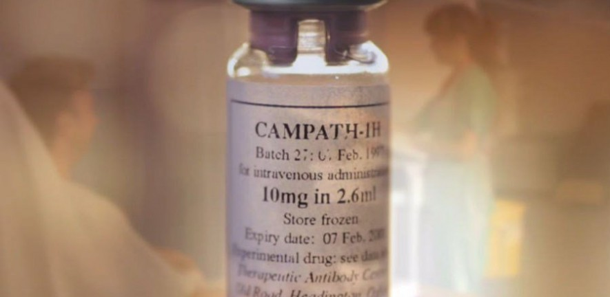 Close-up photo of a vial of Alemtuzumab
