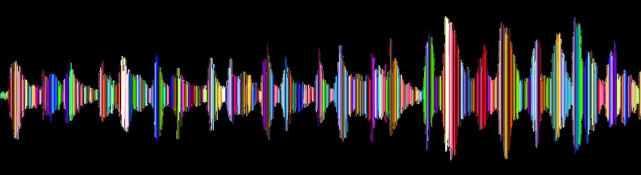 Graphic of a colourised oscilloscope trace
